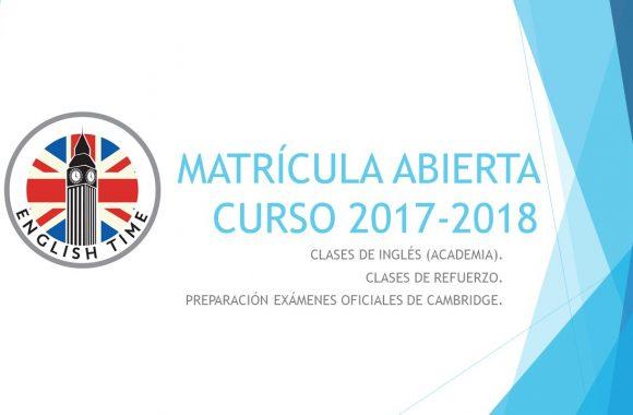 MATRÍCULA ABIERTA CURSO 2017-2018
